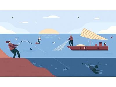 Harvest - 4 boat scuba fishing ocean scene character harvest