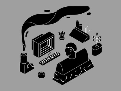 Immersion 2 drawing technology computer design plant character illustration vector icon