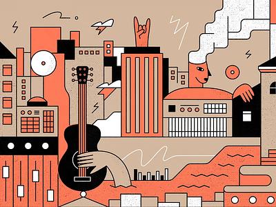 La Bestia character hand drawing guitar label record music rock city banner illustration vector