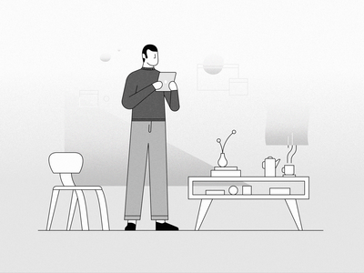 Smart Home gradient userinterface ui technology future furniture ipad tablet home smart illustration