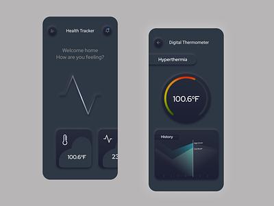 Health Tracker App typography ux ui skeumorphic neumorphism neumorphic minimal illustration design app