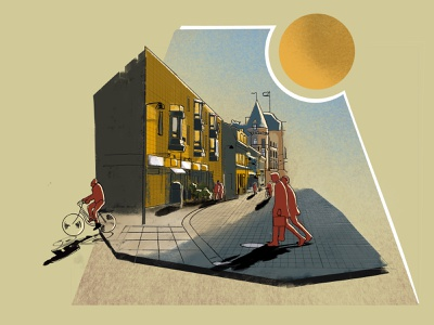 Illustration: Sunny day in Lund, Sweden procreate sun digital painting digitalart illustraion street sweden lund