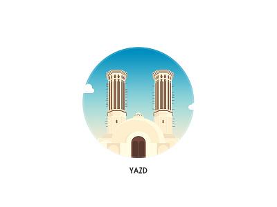 Yazd persian iran art vector minimalism design desert badge badges illustration city