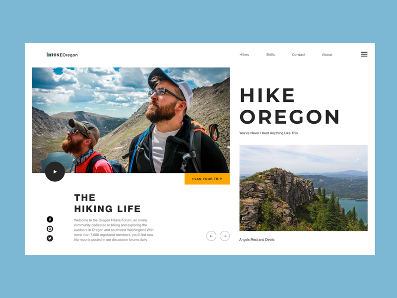 Hike Oregon - website minimal typography web ux ui design