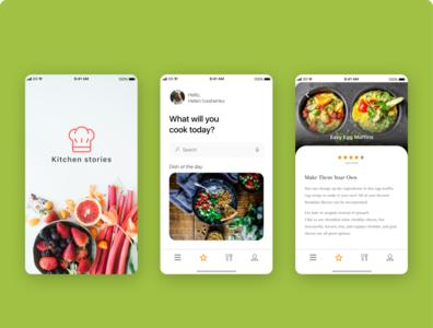 Kitchen stories minimal icon web app ux ui design