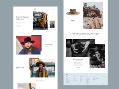 Hat shop website typography ui web ux minimal design
