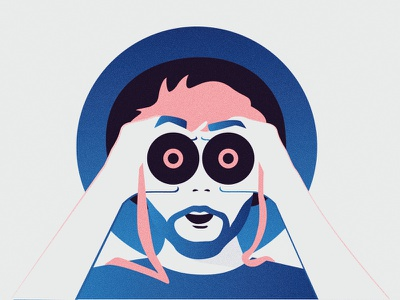 I SEE!!! gradient design flat flat design illustration binoculars vector minimal anahoxha colorful character