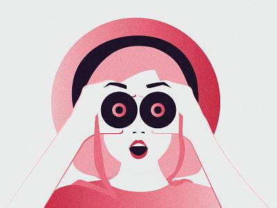 I SEE!!! 02 character colorful anahoxha minimal vector binoculars illustration flat design flat design gradient