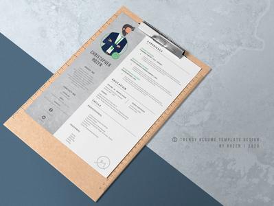 Trendy Resume Design by Rozen 2020 Mockup M2 cv template resume design creative cv design cv resume template vector illustrator