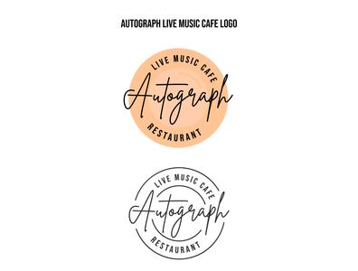 Autograph Live Music Cafe Logo Presentation flat vector branding logo