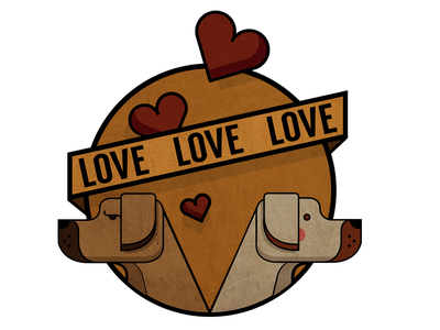 Dogs in love love colors vector illustration dogs