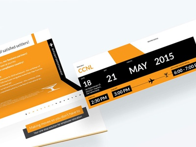 Settle Service event invitation. Flight ticket style