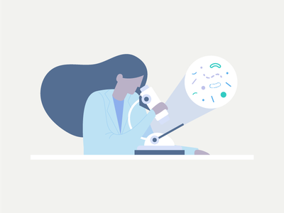Lab Tech character doctor microscope bacteria medical tech lab researcher illustration illo