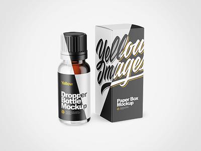 Dropper Bottle with Box PSD Mockups visualization packaging package pack mockups mockup design branding 3d