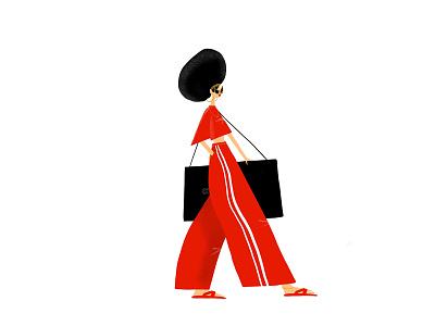 woman in red fashion girl fashionillustration flatillustration illustration characterdesign