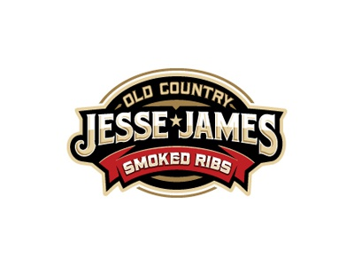 Jesse James logo oronoz ribs western old west food restaurant