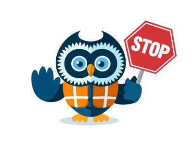 Stop (Smarterer) owl flat character mascot smart stop sign stop sign