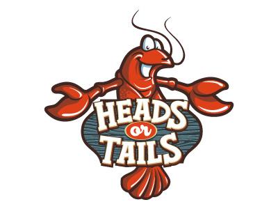 Heads Or Tails character design sea food lettering illustration logo mascot restaurant food crawfish