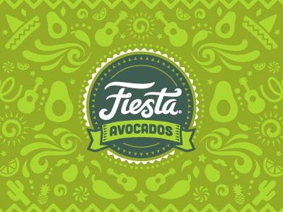 Fiesta Avocados Packaging Pattern green brand mexico lettering type farm packaging farming food avocados party fiesta