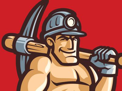 Miner Mascot miner mascot baseball helmet pick bate smile confident red