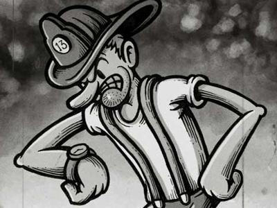 Misfortown - The Fireman character design retro cartoon old school character fireman vintage toon retro cartoon behance