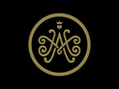 M&A Monogram ma wedding love heart m a oronoz monogram crown