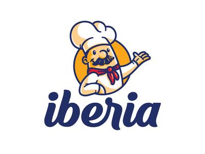 Iberia customtype lettering mascot bakery bread chef