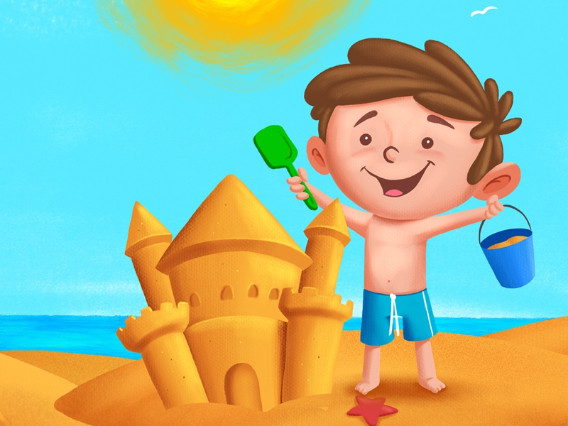 A sunny day at the beach sand castle book cover beach kidlit childrens book childrens illustration