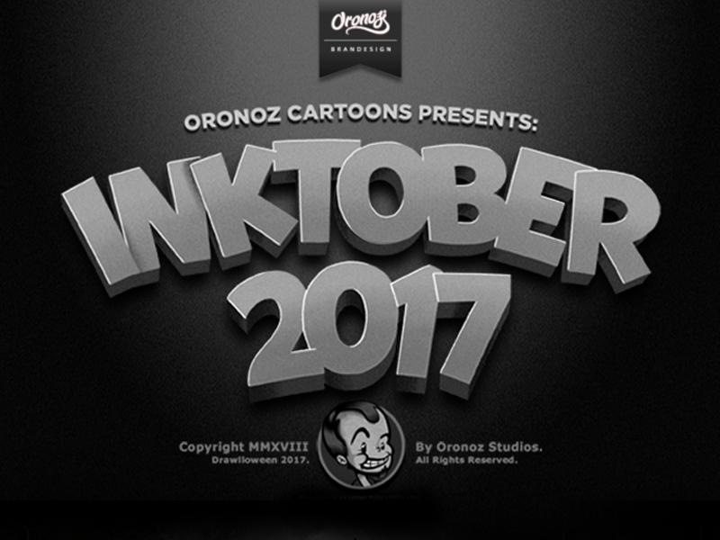 Inktober Behance Project Cover apple alien halloween illustration character design drawing retro vintage cartoon retro cartoon 30s