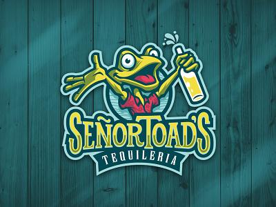 Senor Toads fun illustrative logo mascot design mascot type logo frog toad beach party restaurant bar tequila