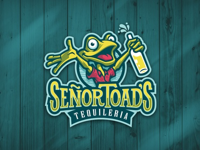 Senor Toads fun illustrative logo mascot design mascot type logo frog toad beach party restaurant bar tequila