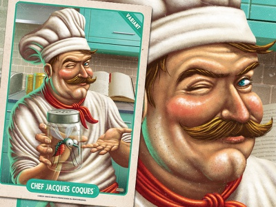 Chef Jaques Coques - Iron Stomach pulp art boardgame retro character design card  game card art mobile mobile game digital paint kitchen digital painting mosquito food illustration pulp vintage chef