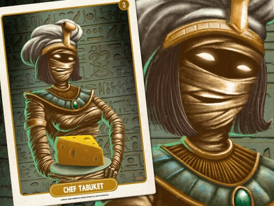 Chef Tabuket retro pulp mobile game digital painting cheese egypt mummy chef character design card game card art vintage