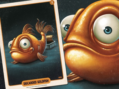 Discarded Goldfish retro vintage pulp mobile game illustration digital painting gold fish can fish character design card game