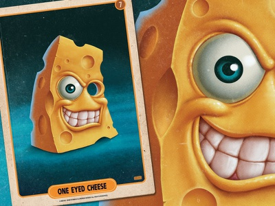 One Eyed Cheese food cheese vintage retro mobile game mobile digital painting card art illustration game art pulp art pulp card game boardgames boardgame
