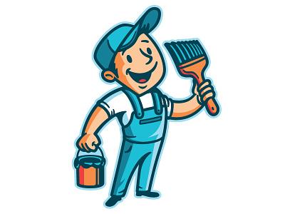 Ottawa Gatineau Painting Mascot vintage retro overalls brush painting painter mascot character mascot design mascoting mascot