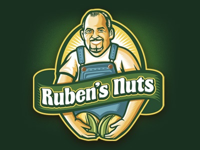 Ruben´s Nuts logo character green illustration badge crest