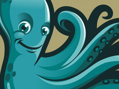 Fisgo  octopus logo mascot smile blue