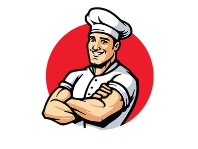 My Muscle Chef Mascot Refresh friendly strong man muscled muscle health healthy healthy food food character desing character mascot design mascot logo mascot chef logo chef hat chef