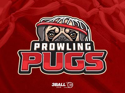 Prowling Pugs sport logo mascot mascot logo dog pug nest sports basketball ball