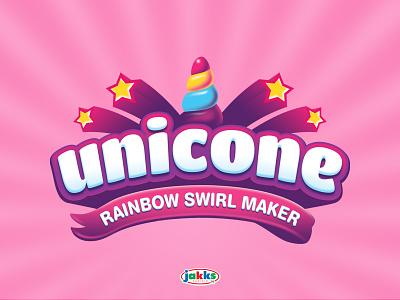 Unicone Logo funny colorful magic child children cute horn icecream candy stars rainbow fun cone unicorn toy branding toy logo logo kids logo kids