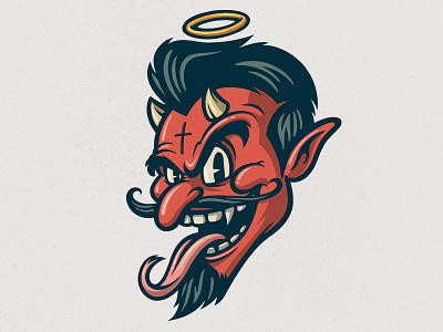 El Diablo I retro cartoon vector vintage retro cartoon diablo horns evil devil 30s