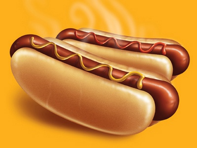 Hot Dog illustration sausage illustration food bread catsup mustard yellow digital digital illustration