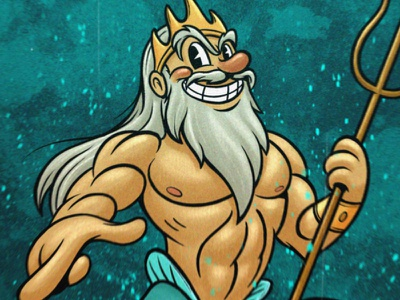 Triton character design characterdesign digital illustration digital painting illustration retro cartoon cartoon 30s retro vintage mermaid mermay sea triton