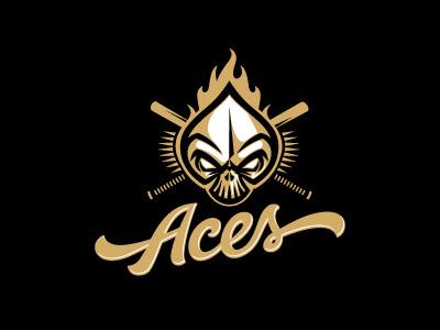 Aces softball skull ace aces sports fire type lettering baseball logo oronoz