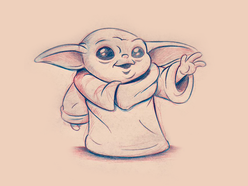 Baby Yoda Sketch by Alan Oronoz on Dribbble