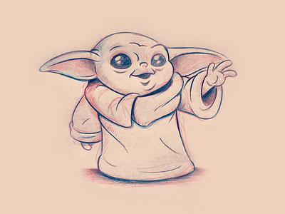 Baby Yoda Sketch babyyoda mandalorian themandalorian cartoon fanart cute yoda starwars