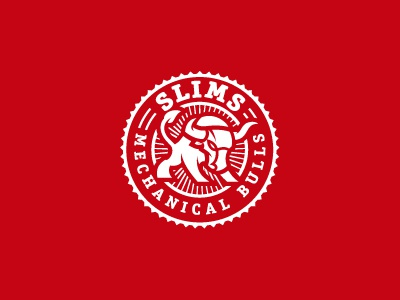 Slims Mechanical Bulls mechanical bull horns red badge logo