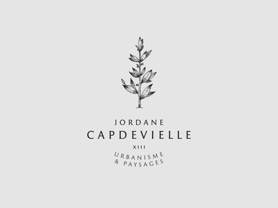 Jordane Capdevielle - 3rd logotype proposal etching engraving lineart personal brand personal logo personal freelance landscape design urbanism vegetal flower tree olive olive branch illustration badge