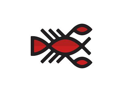 Lobster Guy animal sea lobster logo identity stroke color geometry